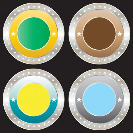 signatory: blank silver badge, vector format Illustration