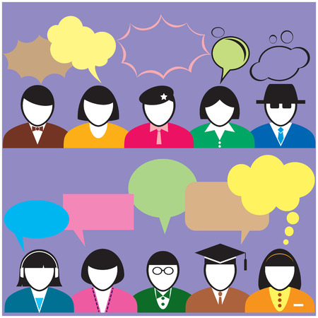 People with speech bubble for social networking and infographics Vector