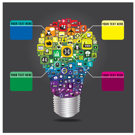 Light bulb with business and social media icon infographics, vector format Stock Vector - 22689010