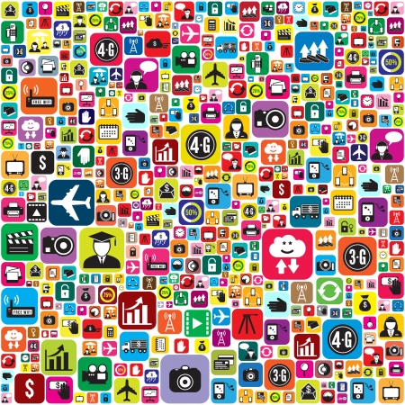 Business and social media icons infographics wallpaper Vector