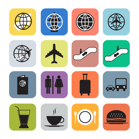 Airport icons set vector format  Vector