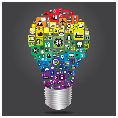 Light bulb with business and social media icon infographics, vector format Stock Vector - 22702236