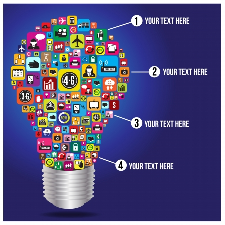 4g: Light bulb with business and social media icon infographics, vector format