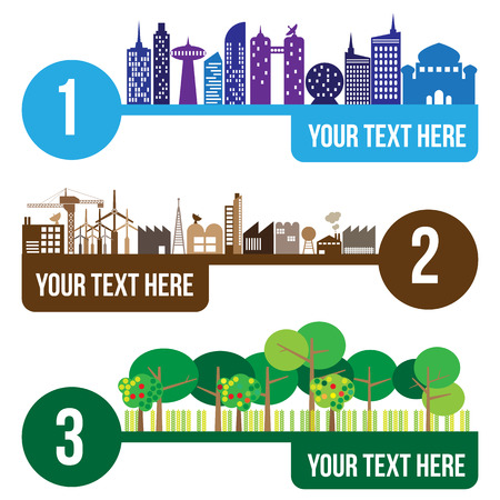 comparisons: City and forest infographic, vector format