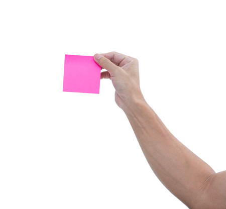 job posting: Man hand with pink adhesive note isolated on white