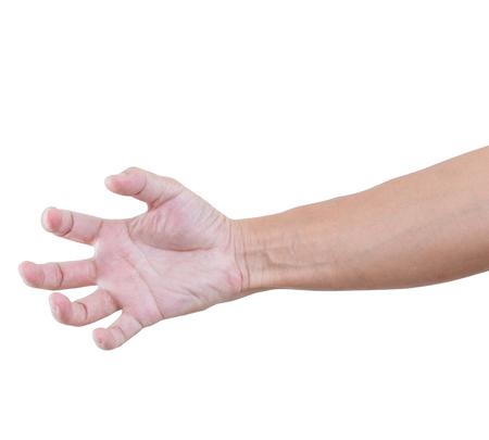 clawing: Piegato a mano isolati su bianco