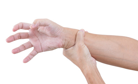 cut wrist: Hand bent isolated on white  Stock Photo