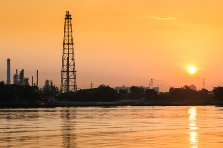 Oil refinery at sunrise photo