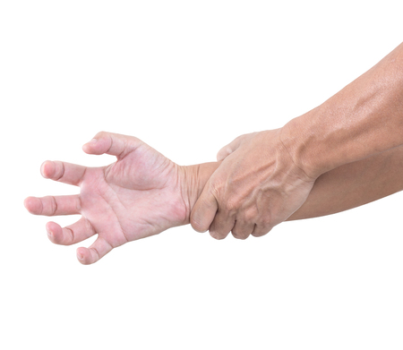 cut wrist: Hand bent isolated on white background, with clipping path Stock Photo