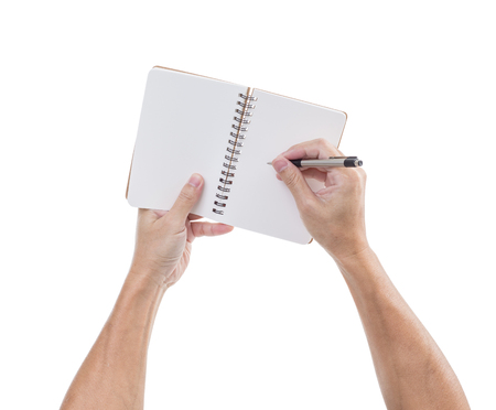 man holding book: Man hands hold notebook and pen isolated on white background Stock Photo
