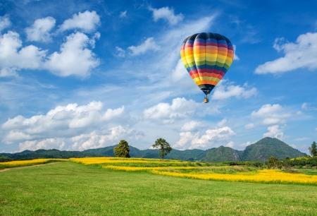 Balão de ar quente sobre o campo de flores amarelas com fundo de montanha e céu azul Foto de archivo - 23078226