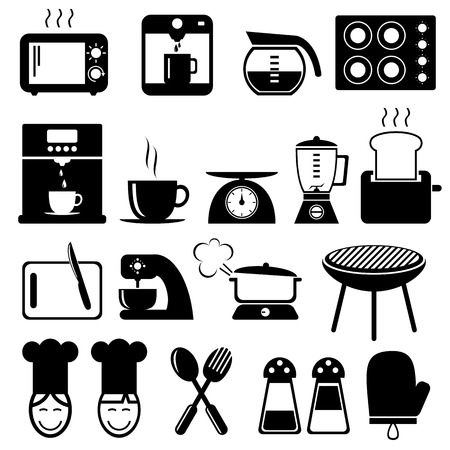 set van keuken iconen set voor web, vector-formaat Stock Illustratie