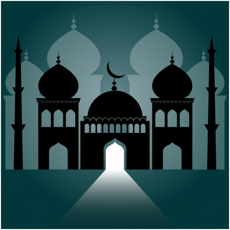 mosque: mosque on dark blue background with light ray from the door.  Illustration