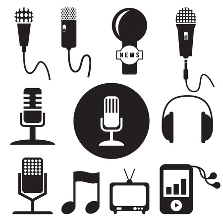 Music and recording studio icons set, vector format