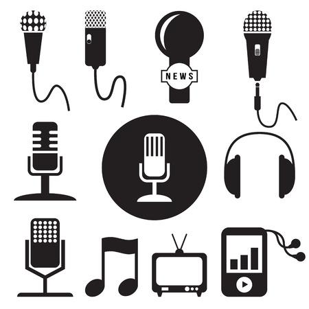 recording studio: Muziek en opnamestudio pictogrammen instellen, vector-formaat