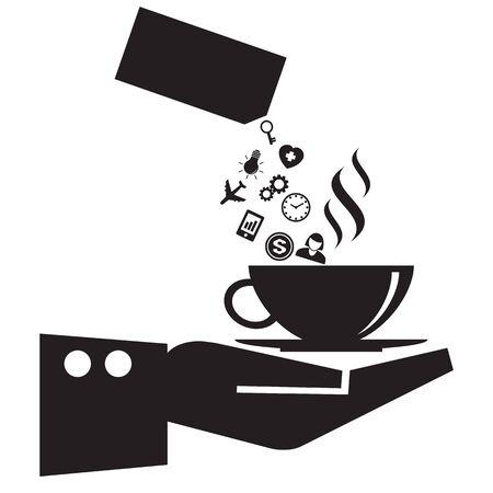 remplir: tasse de caf� � la main remplir avec des ic�nes des m�dias sociaux et des infographies concept, format vectoriel