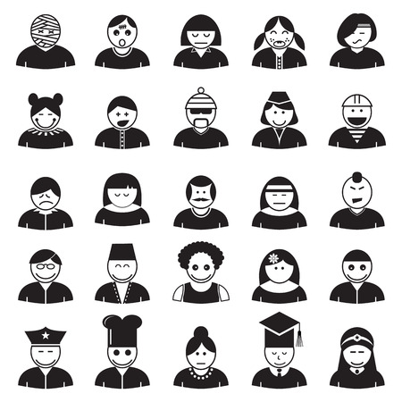 People avatar icon set, vector format Vector