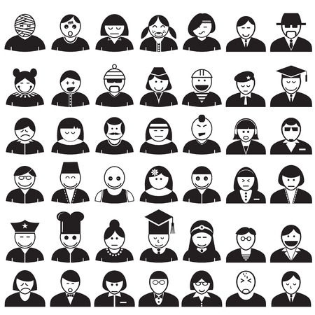 People avatar icons set, vector format Vector