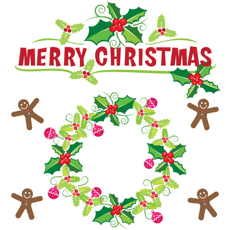 Christmas wreath banner, vector format Vector