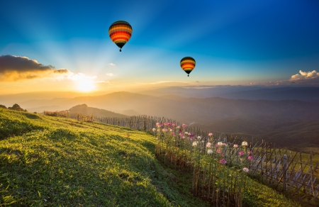 Sunset over forest mountain with hot air balloon