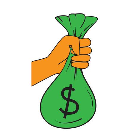 hand holding money bag: Hand holding bag of money. vector format