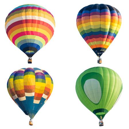 globo: Globo de aire caliente de colores aislados sobre fondo blanco, formato vectorial Vectores