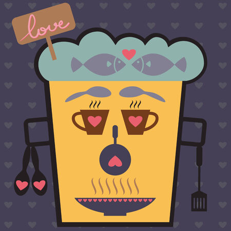 Love Face from kitchen icon set, Valentine Vector