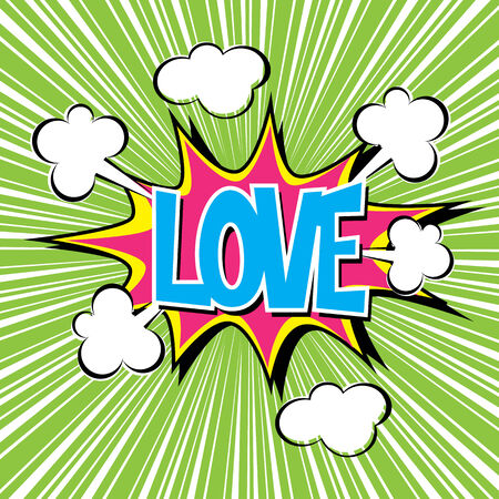Love with radial speed. comic speech bubble Vector