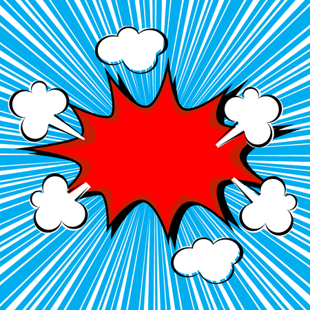 Boom comic speech bubble with radial speed, vector illustration  イラスト・ベクター素材
