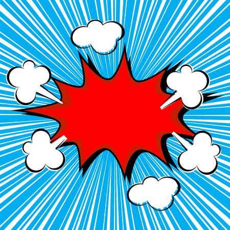 Boom comic speech bubble with radial speed, vector illustration Illustration