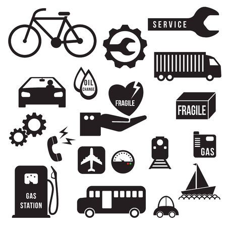 airplane icon: Automobile icons set, vector format Illustration