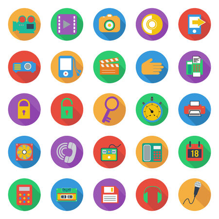 Business flat style icons set, vector format Vector
