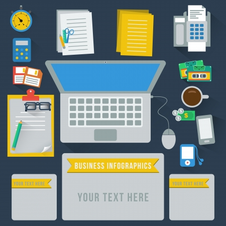 Office table infographics, vector format Vector