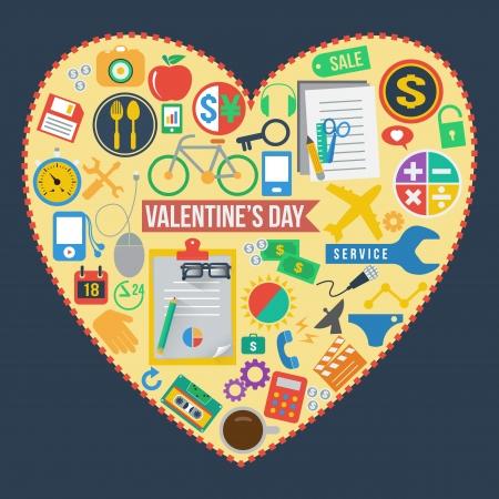 universal icons set in heart, vector format Vector