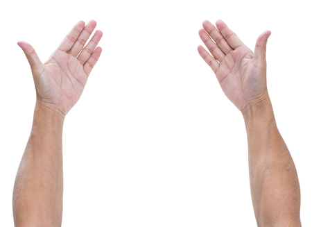 left hand: Man hands isolated on whited background