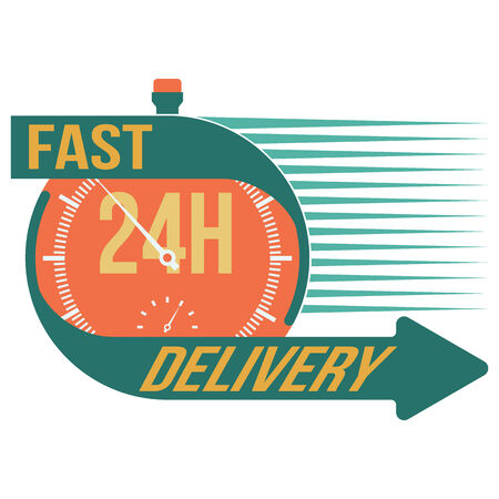24h: 24 hour fast delivery and stop watch symbol