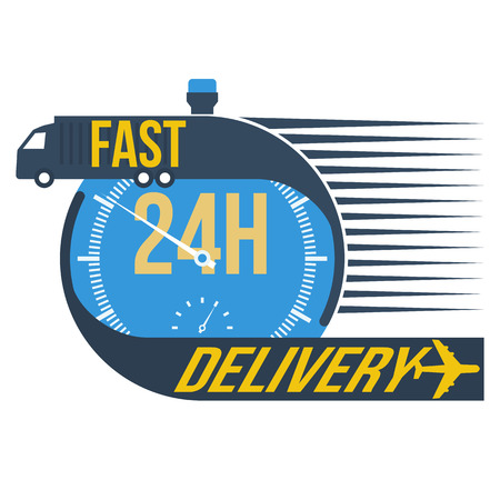 24 hour fast delivery and stop watch symbol, format