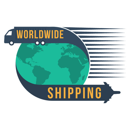 Worldwide shipping with globe icon, format
