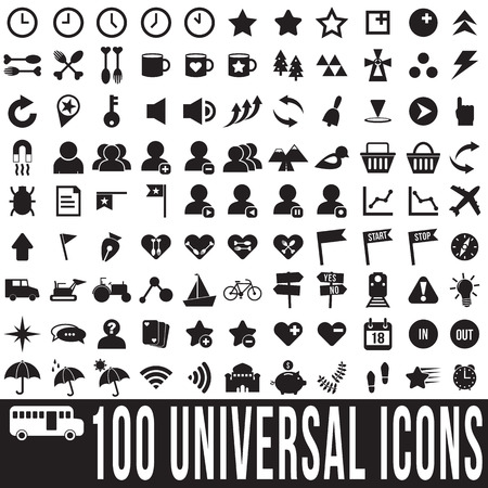 100 universal icons set, vector format Vector