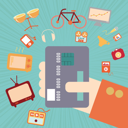card payment: Hand with credit card for online shopping concept, vector format