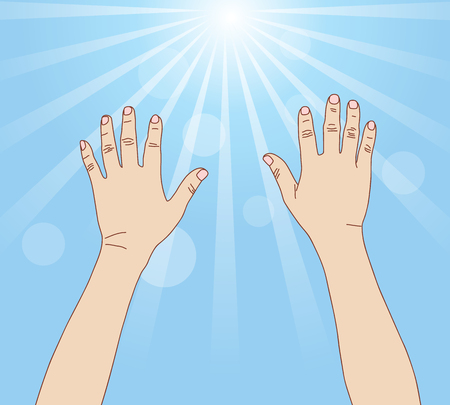 healing touch: Hands reach light ray, vector format Illustration