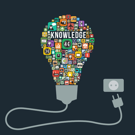 knowledge is power: Knowledge business concept design from icons light bulb