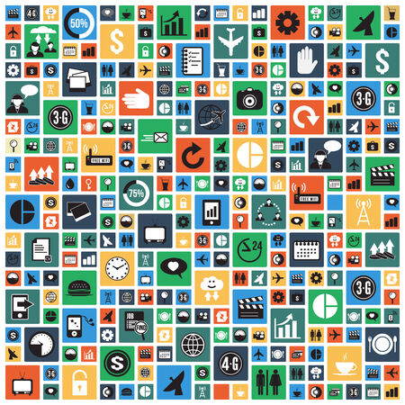 Wallpaper design with universal icons in square tiles pattern, vector format Vector