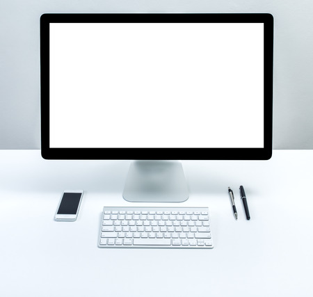 computer with blank screen monitor photo