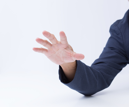Business man hand on white background photo