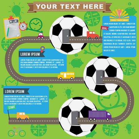 roadmap: Soccer business infographics, vector format