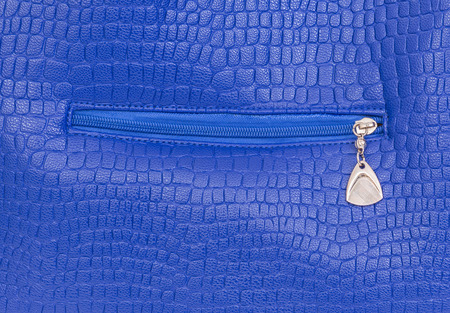 Blue leather bag with zip photo