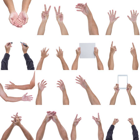 hand palm: Collection of man hands