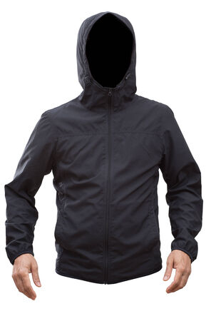 Black jacket with hood and man hands isolated on white background; clipping path photo