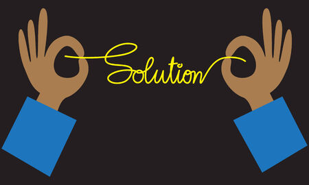 problem solution: Hands with solution for business concept, vector format Illustration